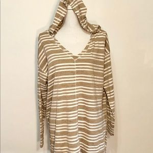 Papermoon Plus Size Tan Striped Hooded Knit Top